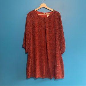 Burnt Orange & Navy Geometric Printed Dress